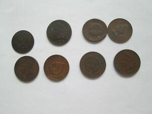 LOT OF 8 INDIAN HEAD CENTS 1900 1901 1902 1904 1905 1906 1907 1908