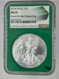2014 SILVER EAGLE NGC MS70 FROM US MINT SEALED BOX   LIMITED TIME PLEASE READ