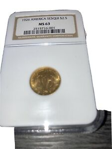 1926 $2.5 GOLD AMERICA SESQUICENTENNIAL NGC  MS 63 UNC DETAILS