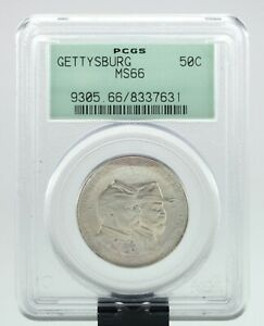 1936 GETTYSBURG 50C COMMEMORATIVE HALF DOLLAR GRADED BY PCGS AS MS 66 OLD HOLDER