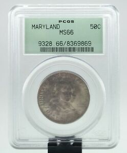 1934 MARYLAND 50C COMMEMORATIVE HALF DOLLAR GRADED BY PCGS AS MS66  OLD HOLDER