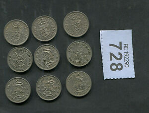 SET OF 9 COINS SHILLINGS  OF GREAT BRITAIN