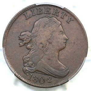 1802/0 C 2 R 3 PCGS VF 25 REVERSE OF 1802 DRAPED BUST HALF CENT COIN 1/2C