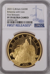Click now to see the BUY IT NOW Price! 2021 GOLD PROOF BRITANNIA WITH LION 2OZ TWO OUNCE NGC PF70 UCAM FIRST RELEASES