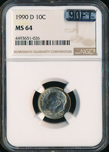 1990 D ROOSEVELT DIME NGC MAC MS64 90FT $500.00 FOR FT