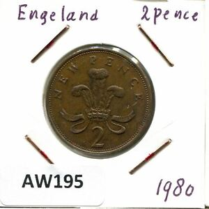 2 NEW PENCE 1980 UK GREAT BRITAIN COIN AW195.U