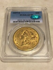 1857 S $20 PCGS AU58 LIBERTY DOUBLE EAGLE GOLD COIN CAC SHARP ALMOST MS