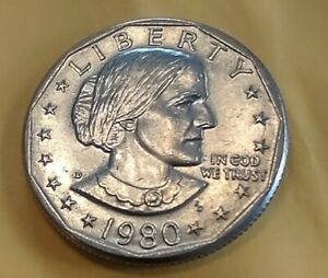 1980 D SUSAN B ANTHONY ERROR COIN REVERSE DOUBLE DIE UNGRADED