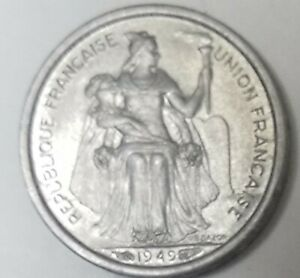 1949  NEW CALEDONIA   50 CENTIMES  ALUMINUM COIN  SEE  PHOTOS