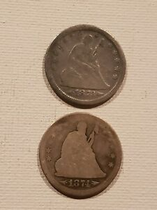 1873 & 1874 LIBERTY SEATED QUARTERS WITH ARROWS
