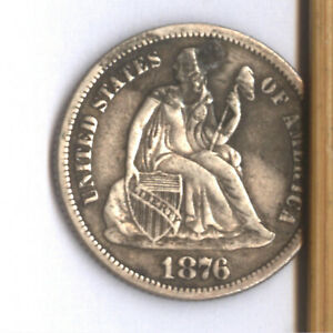 1876 CC SEATED DIME   HIGH GRADE DETAIL      PLUGGED HOLE    AFFORDABLE