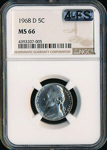 Click now to see the BUY IT NOW Price! 1968 D JEFFERSON NICKEL NGC MAC MS66 4FS LY  FINEST GRADE $20 000 5FS