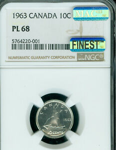 Click now to see the BUY IT NOW Price! 1963 CANADA 10 CENTS NGC PL68 PQ CAMEO MAC FINEST GRADE MAC SPOTLESS  ..