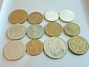 LOT OF 12 WORLD COINS NORWAY EGYPT UK   MORE   LOW PRICE/LOW SHIPPING.. E55