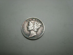 1943 S MERCURY SILVER DIME NICELY TONED ON OBVERSE.