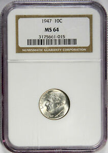 1947 ROOSEVELT DIME   CHOICE UNCIRCULATED NGC M64   PRICED RIGHT