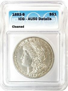 1883 S MORGAN DOLLAR SILVER S$1 ABOUT UNCIRCULATED ICG AU50 DETAILS CLEANED