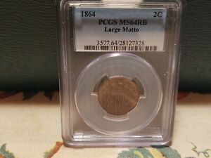1864 PCGS MS64 RB LARGE MOTTO TWO CENT PIECE