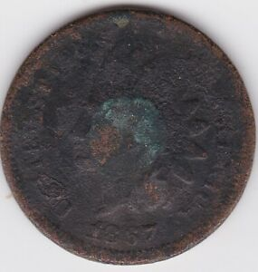 1867/67 INDIAN HEAD CENT  VARIETY/ERROR  67 OVER 67 PENNY 1C EARTH FIND