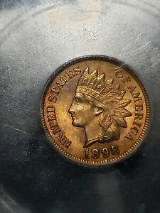 1898 INDIAN HEAD PENNY   ICG MS65  RB   PQ