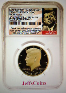 Click now to see the BUY IT NOW Price! 2014 W GOLD KENNEDY HALF 50 ANNIVERSARY NGC PROOF 70 CHICAGO ANA RELEASE BOX