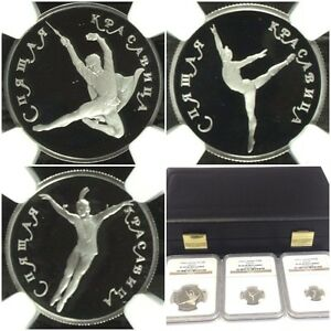 Click now to see the BUY IT NOW Price! RUSSIA 1995 SET 3 PLATINUM COINS BALLET SLEEPING BEAUTY NGC PF69 70 BOX