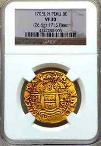 Click now to see the BUY IT NOW Price! PERU 8 ESCUDOS 1705 GOLD 1715 FLEET SHIPWRECK NGC 30 PIRATE TREASURE COB COIN