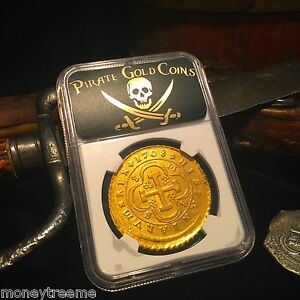 Click now to see the BUY IT NOW Price! SPAIN 1708 8 ESCUDOS DOUBLOON NGC ONLY 1 KNOWN GOLD COIN TREASURE PIRATE CRYSTAL