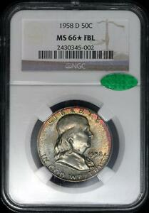 Click now to see the BUY IT NOW Price! 1958 D FRANKLIN HALF DOLLAR NGC MS 66 STAR FBL   CAC   LUSTROUS RAINBOW COLORS