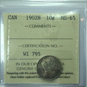 Click now to see the BUY IT NOW Price! 1902H CANADIAN TEN CENT COIN ICCS GRADED MS 65