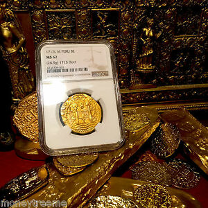 Click now to see the BUY IT NOW Price! PERU 1712 8 ESCUDOS NGC 62 1715 FLEET SHIPWRECK DATED GOLD DOUBLOON TREASURE
