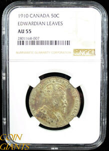 Click now to see the BUY IT NOW Price! 1910 CANADA 50C FIFTY CENTS NGC AU55 EDWARDIAN LEAVES TONED ABOUT UNCIRCULATED