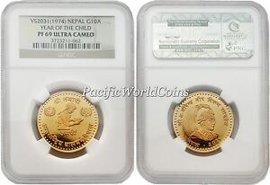 Click now to see the BUY IT NOW Price! NEPAL 1974 YEAR OF CHILD 10 ASARPHI GOLD NGC PF 69 ULTRA CAMEO