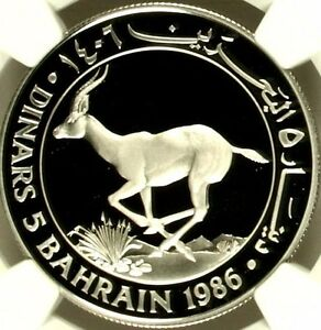 Click now to see the BUY IT NOW Price! 1406 1986 BAHRAIN SILVER 5 DINARS ISA BIN SALMAN AL KHALIFA GAZELLE WWF NGC PF68