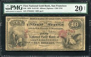 Click now to see the BUY IT NOW Price! $10 1870 NATIONAL GOLD BANK NOTE FR.1142 SAN FRANCISCO CHARTER 1741 PMG VF20