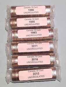 Click now to see the BUY IT NOW Price! 6 UNCIRCULATED DIME ROLLS 1996 1995 1993 2011 2016 2015 EACH ROLL DIFFERENT DATE