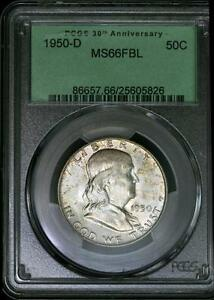 Click now to see the BUY IT NOW Price! 1950 D FRANKLIN HALF DOLLAR PCGS MS 66 FBL   OGH   OLD GREEN HOLDER   50C