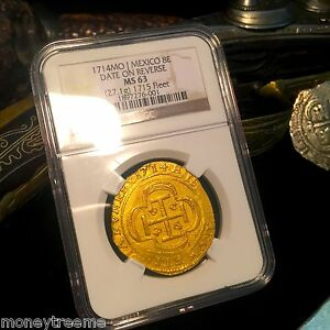 Click now to see the BUY IT NOW Price! MEXICO 1715 FLEET SHIPWRECK ROYAL LIKE 8 ESCUDOS 1714 DATE ON REVERSE NGC 63