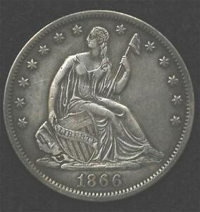 Click now to see the BUY IT NOW Price! 1866 S LIBERTY SEATED HALF  NO MOTTO VARIETY STRONG XF