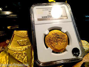Click now to see the BUY IT NOW Price! MEXICO 8 ESCUDOS DATED 1715 PLATE FLEET SHIPWRECK NGC 55 GOLD DOUBLOON TREASURE