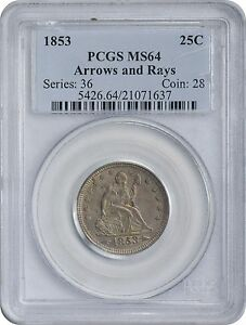 Click now to see the BUY IT NOW Price! 1853 LIBERTY SEATED QUARTER MS64 PCGS ARROWS AND RAYS MINT STATE 64