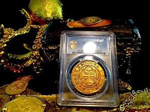 Click now to see the BUY IT NOW Price! SPAIN 1700 GOLD 8 ESCUDOS NGC 50  ONLY 2 KNOWN  COB DOUBLOON CHARLES II COIN