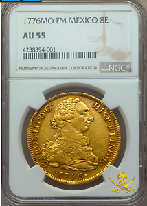 Click now to see the BUY IT NOW Price! MEXICO 1776 8 ESCUDOS NGC 55 CHARLES 3RD 2ND FINEST KNOWN GRADE CATEGORY
