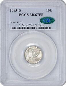 Click now to see the BUY IT NOW Price! 1945 D MERCURY DIME MS67 FB PCGS MINT STATE 67 FULL BANDS