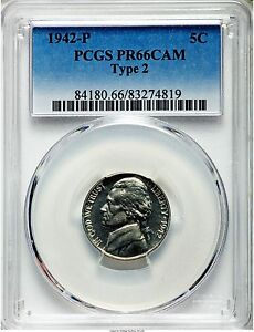 Click now to see the BUY IT NOW Price! 1942 JEFFERSON TYPE 2 SILVER NICKEL 5C PCGS PR66 CAM  CAMEO PG   $3 500