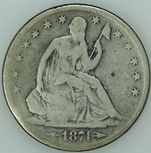1874 S SEATED HALF DOLLAR  VG DETAILS  50C  US COIN LOT 7662