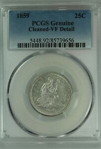 1859 SEATED QUARTER  PCGS VF DETAILS  25C  US COIN LOT 7533