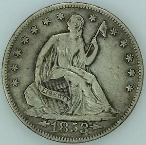 1853 O SEATED HALF DOLLAR  XF DETAILS  50C  US COIN LOT 7657