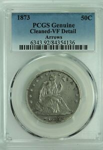 1873 SEATED HALF DOLLAR  PCGS VF DETAILS  ARROWS  50C  US COIN LOT 6207