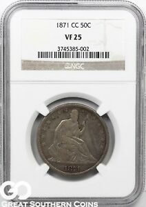 1871 CC SEATED LIBERTY HALF DOLLAR NGC VF 25    LOW MINTAGE KEY DATE FREE S/H